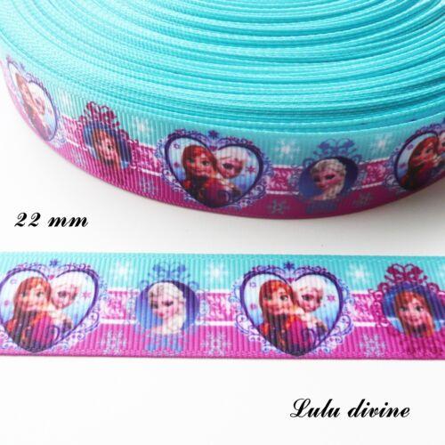 Ruban gros grain turquoise /& violet Anna Elsa dans médaillon cœur /& rond de 22mm