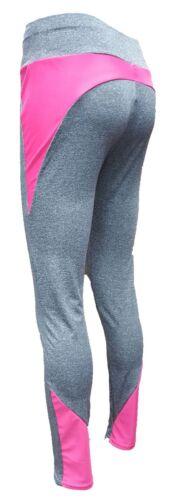 Ladies Workout Neon Contrast Thick Elasticated Waist Leggings S//M L//XL