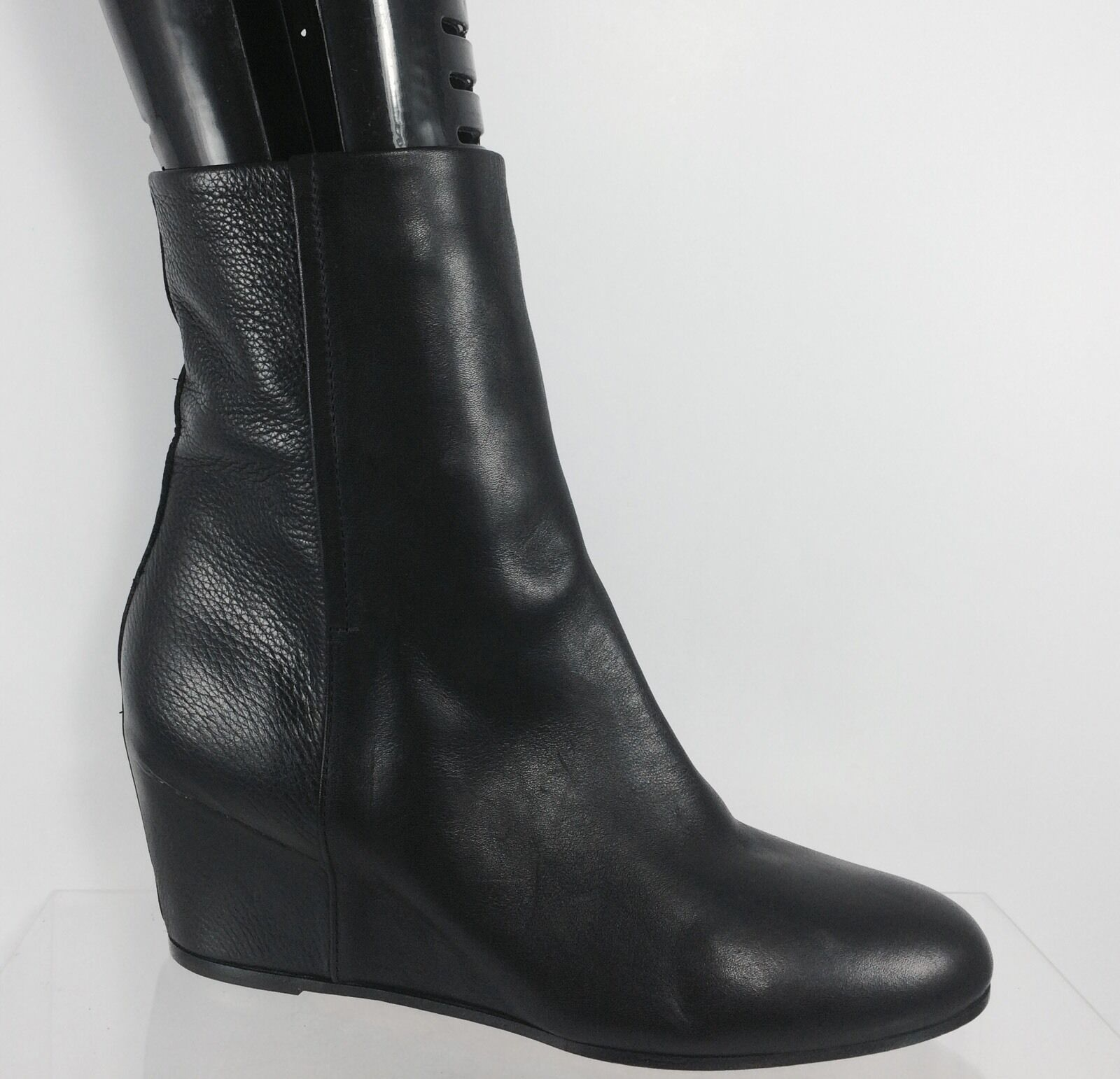Vince Womens Black Leather Fashion Wedge Ankle Boots 9 M