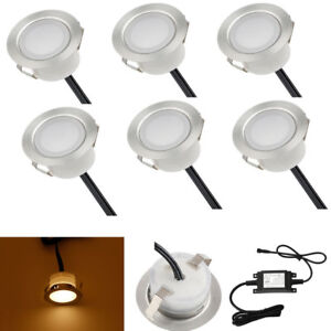 6Pcs-Set-1-W-12-V-DEL-Deck-Lumieres-Path-Mur-Lampe-InGround-Outdoor-Yard-Blanc-chaud