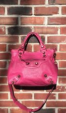 BALENCIAGA Bright Pink Giant ROSE GOLD Hardware Velo Cross-body Leather Bag HTF!
