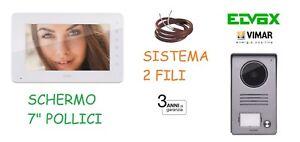 KIT-VIDEOCITOFONO-VIMAR-ELVOX-MONOFAMILIARE-AUDIO-VIDEO-COLORI-7-034-LED-2FILI