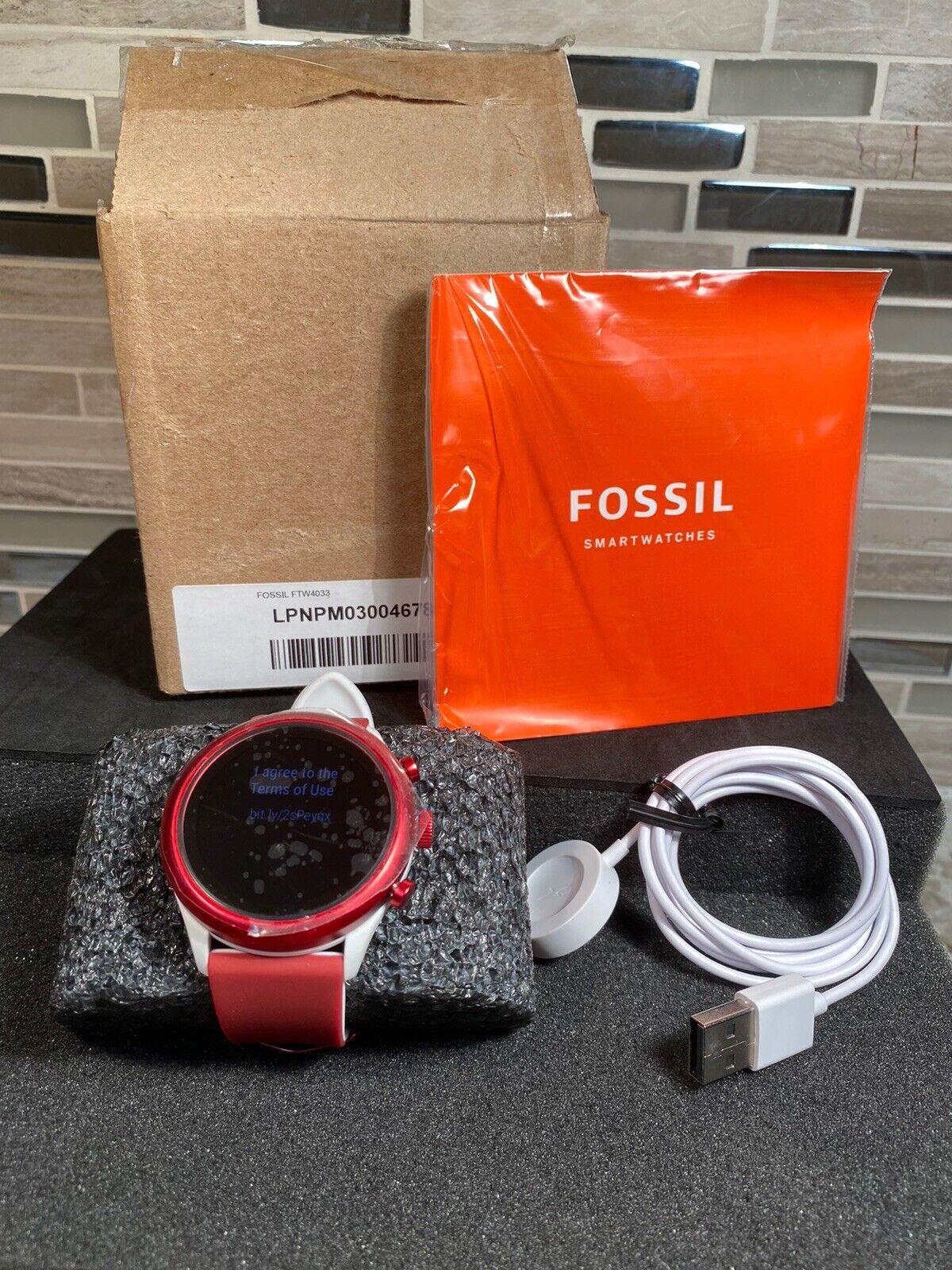 Fossil Men's Sport Heart Rate Smartwatch White Dark Red FTW4033 READ DESCRIPTION dark Featured fossil ftw4033 heart rate read red smartwatch sport white