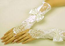 Ivory Luxurious Bridal Lace Insert & Satin Bow Fingerless Wedding Prom Gloves