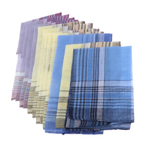 12Packs-Fazzoletti-quadrati-da-uomo-in-cotone-al-100-Classic-Check-Pattern