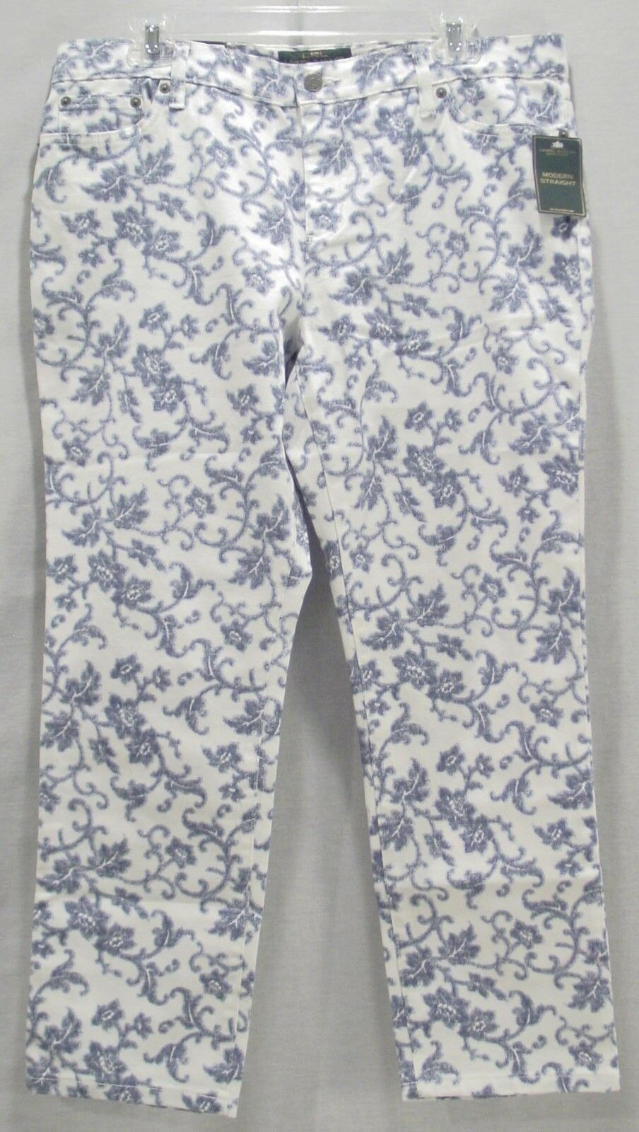 RALPH LAUREN LADIES PETITE blueE & WHITE FLORAL DENIM JEAN   PANTS NEW WITH TAGS