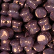 Purple Chalk White Vega Czech Glass 4x6mm Pellet 30 Beads