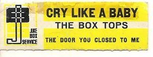 STICKER-JUKE-BOX-THE-BOX-TOPS-CRY-LIKE-A-BABY-THE-DOOR-YOU-CLOSED-TO-ME