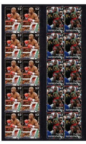 FLOYD MAYWEATHER BOXING LEGEND MINT VIGNETTE STAMPS PAIR 2