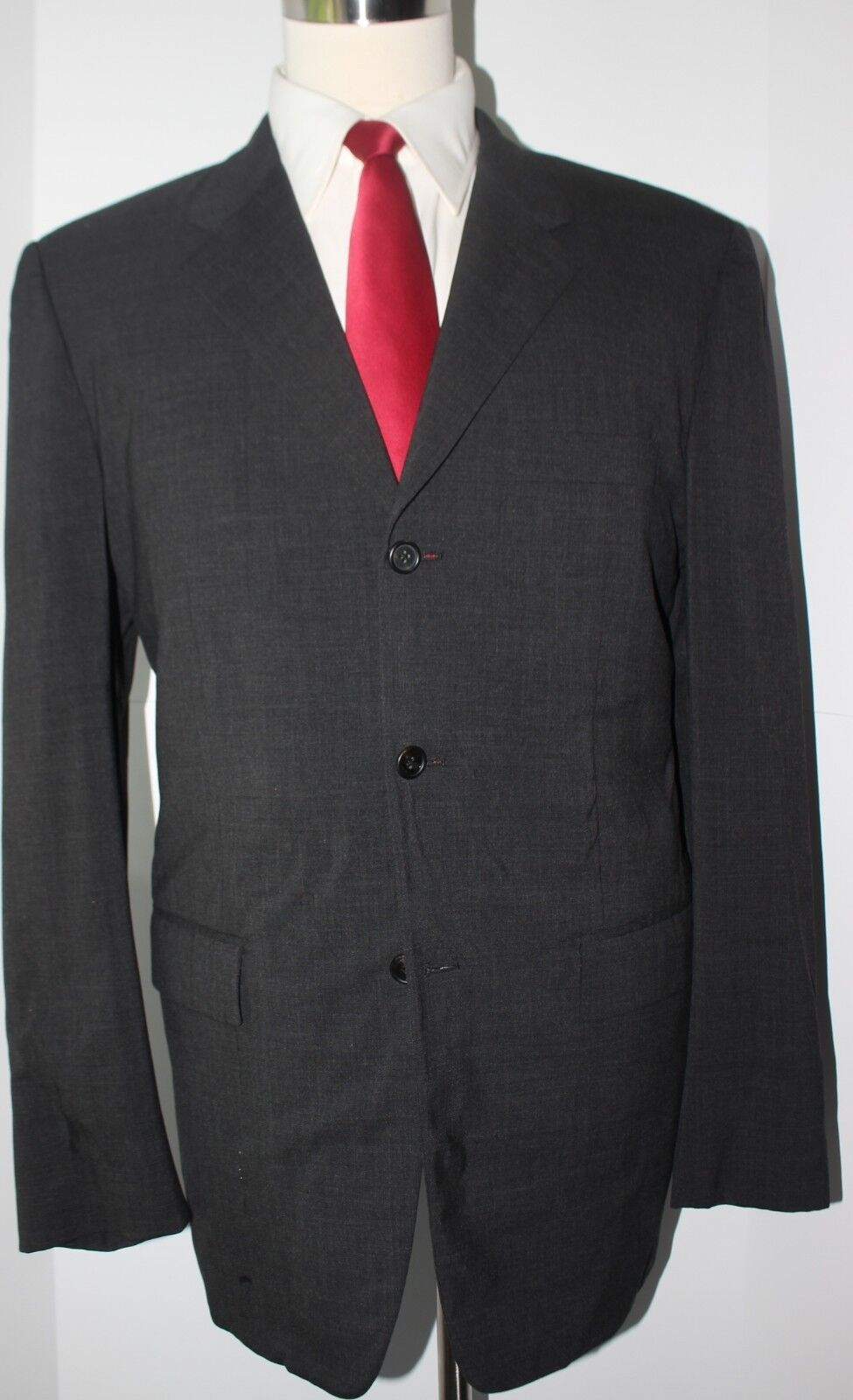Prada Milano grau Solid Three Button Wool  Herren Suit Größe 42 L 34 33 Flat Pants