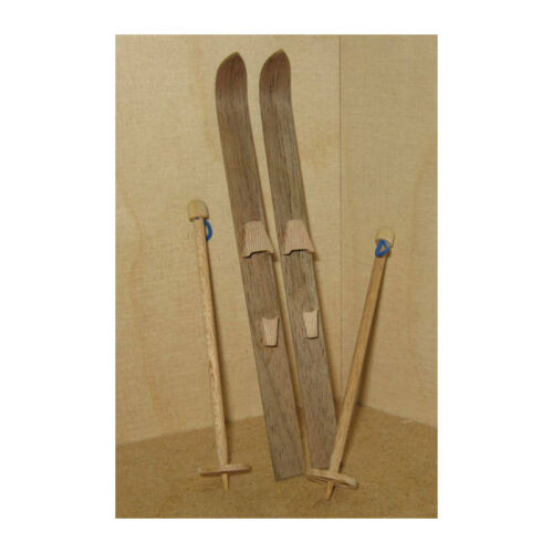 # Love Handmade 46061 Miniature Ski with Ski Poles Wooden 1:12 doll house NEW
