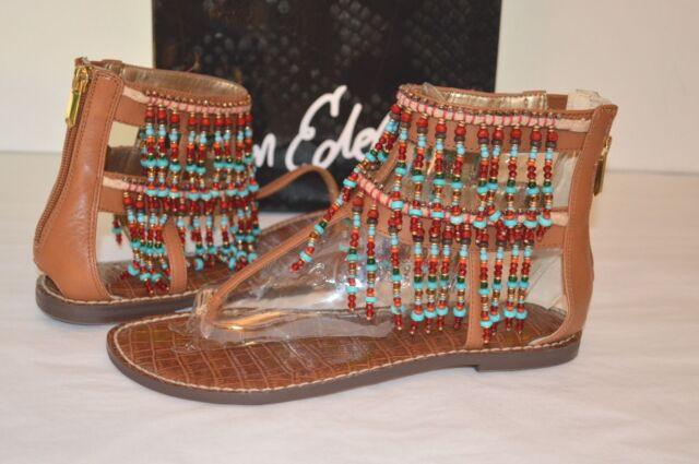 22b2186f2c27 New  130 Sam Edelman Gabriel Saddle Brown Leather Sandal Bead Thong Boho 7.5