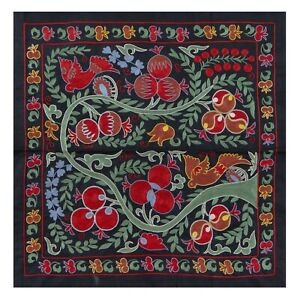 3x3 Ft Central Asian Suzani Textile. Embroidered Cotton & Silk Bed Cover