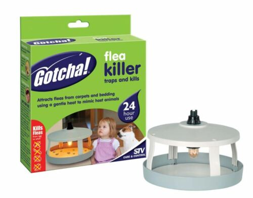GOTCHA ELECTRIC FLEA KILLER UNIT TRAP + 3 REFILL DISKS 24 HR PROTECTION