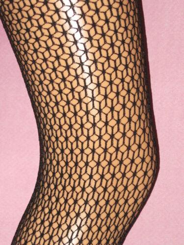 Size 10-14 fancy fishnet patterned Black Geometric Lace Tights