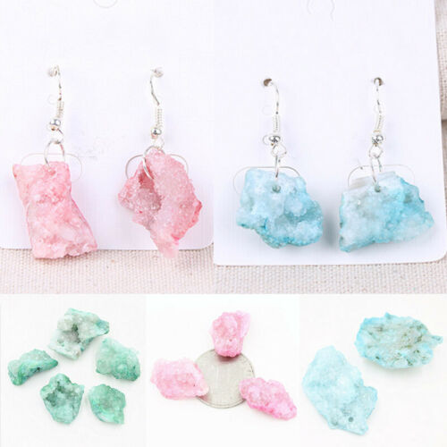 Natural Crystal Geode Cluster Stone Quartz DIY Earrings Pendant Necklace Jewelry