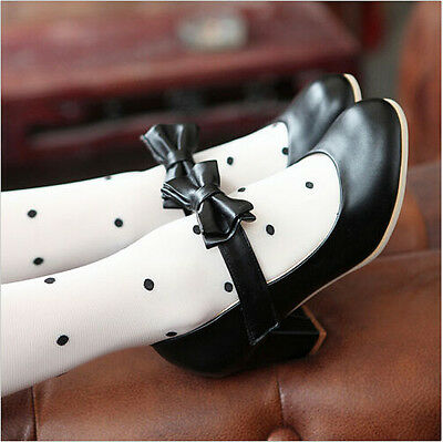 Women Thick Heel Spring Candy Womens Leather Lolita Bowknot New  Shoes Plus Size