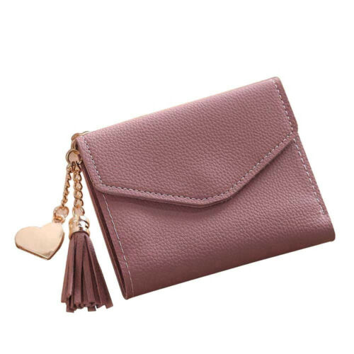 Fashion Women Lady Solid Leather Small Wallet Coin Change Card Holder Purse