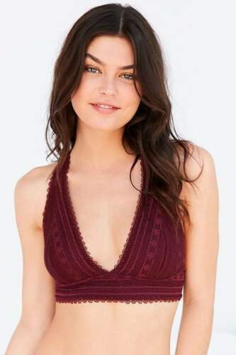 Strappy Back Halter Bralette Plunging Neck Scallop Overlay Bra Made To Be Seen