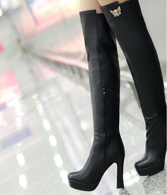 Booties Stiefel until until until thigh woman heel plateau 11 cm elegant comfortable schwarz a334dd