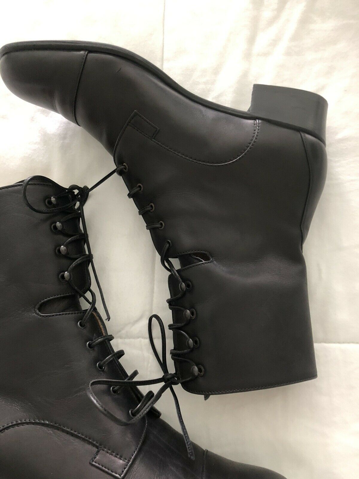 Pierotucci Black Leather Boots Victorian Steampunk Lace Up Sz 37 Italy