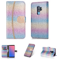 ed27c0712 Bling Glitter Flip Leather Wallet Card Case Cover For Samsung S9 S6 S7 S8  Note 9