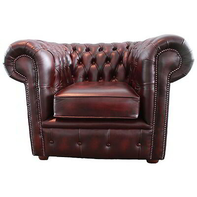 Vintage Style Chesterfield Genuine Leather Club Chair Antique Oxblood Red