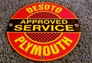 DESOTO-PLYMOUTH-PORCELAIN-SIGN-GAS-VINTAGE-STYLE-SERVICE-STATION-AUTOMOBILE-AD