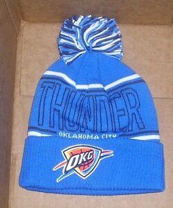 76da553bc5a715 NEW NBA Oklahoma City Thunder Cuffed Pom Hat Cap OSFA Winter ADIDAS ...