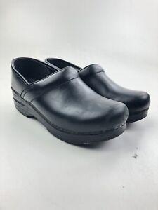 Dansko Black Leather Clogs Slip