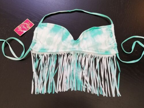 NWT #104 Candies Mint and White Tie Dye Bikini Top with Fringe