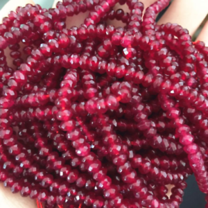 "Natural 2x4mm Faceted Red Ruby Gemstone Rondelle Loose Beads Strand 15/"" AAA"