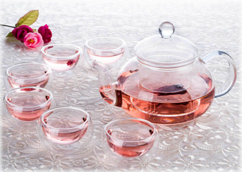 7in1 Classic Glass Tea Set Teapot w// infuser 6 Double Wall Small Teacup Mug