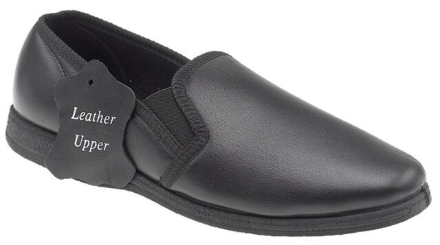 Clearance Sleepers Hadley Mens Leather House Shoes Slip On Slippers
