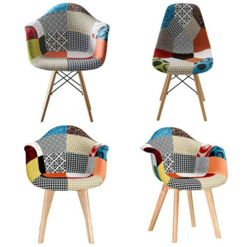 Patchwork Fabric Eiffel Sytle Padded Sest Dining Chairs Home Office Lounge Room