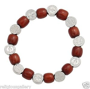 San Benito St. Benedict Bracelet, Catholic Silver Medal Spacer with Wooden Beads