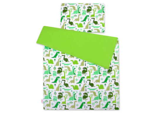 2-teiliges Baumwoll Bettwäsche-Set Dinos grün 2 Größen