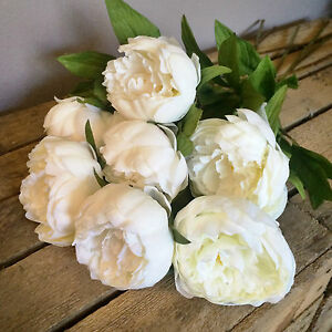 Bunch Of 7 Faux Silk Ivory Peonies Cream Off White Artificial