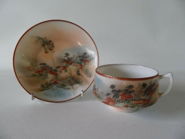 ANTIQUE VINTAGE HAND PAINTED JAPANESE CUP & SAUCER DUO