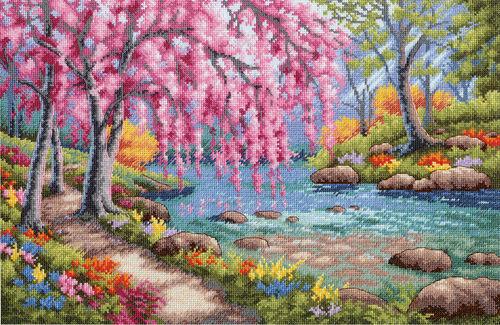 Cherry Blossom Creek punto de cruz Kit