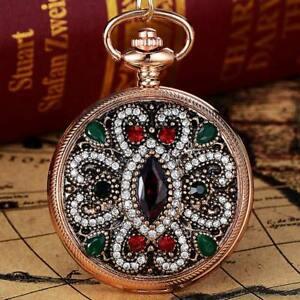 Antique-Women-Diamond-Quartz-Analog-Fob-Pocket-Watch-Necklace-Chain-Pendant-Gift