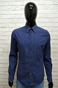Camicia-Blu-Uomo-GAS-Taglia-S-Maglia-Shirt-Man-Cotone-Pois-Manica-Lunga-Slim