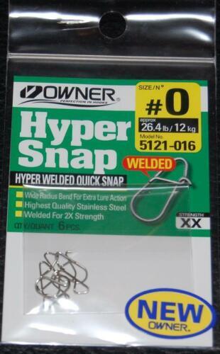 environ 11.79 kg forte 2X Lot de 6-Propriétaire Hyper soudés Quick Snap 5121-016 Taille 0-Test 26 lb