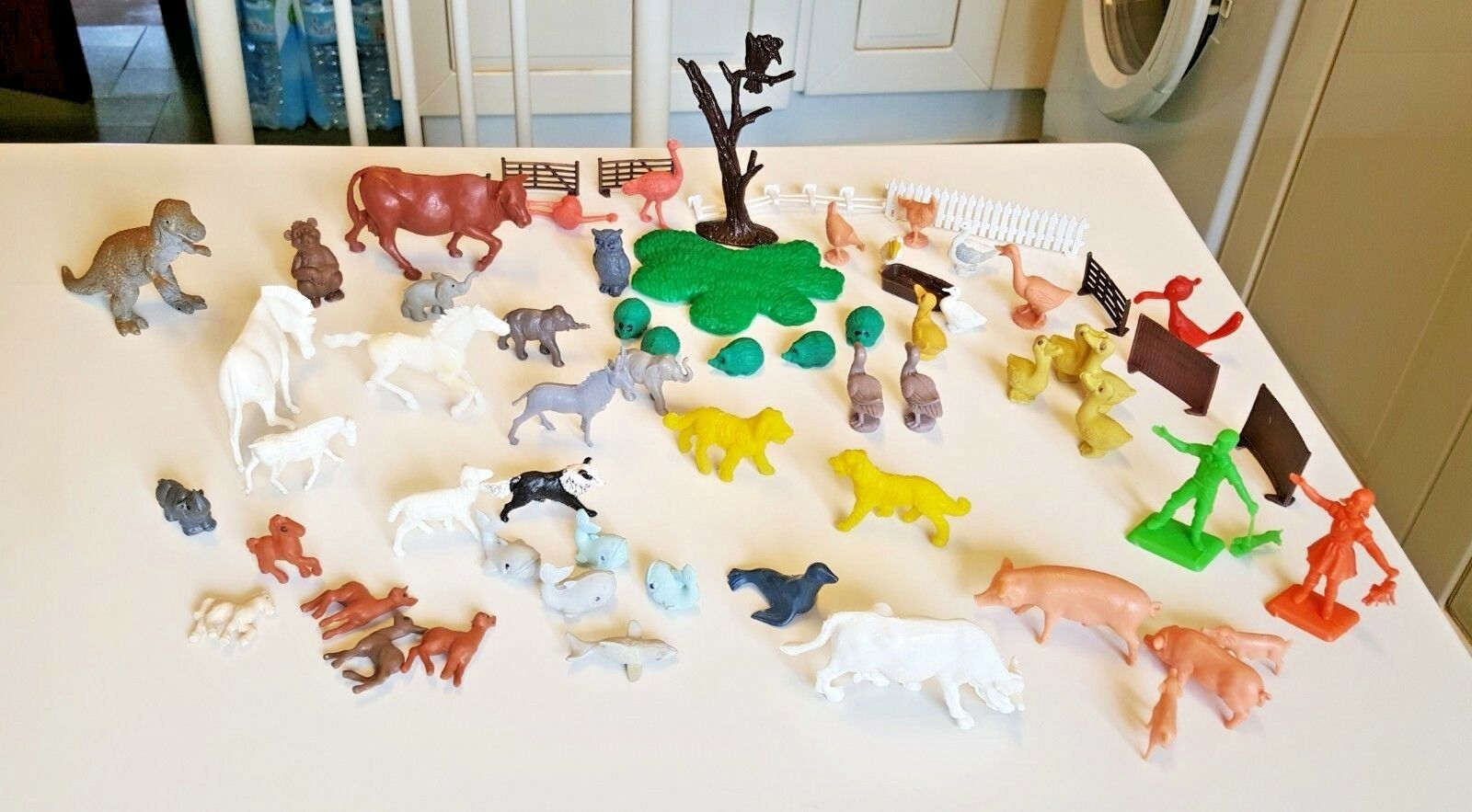 Collection of plastic or rubber animal and farm figures