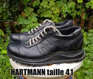 NEUF Chaussures HARTMANN taille 41 cuir noir semelle compensée