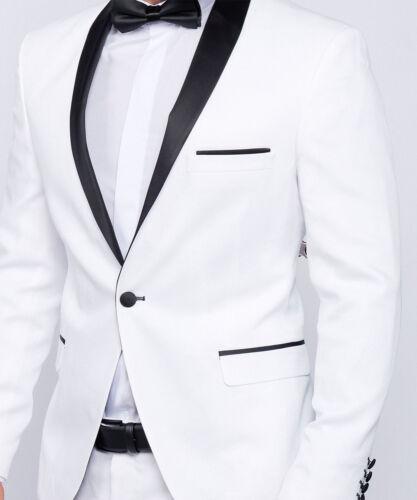 Slim Fit Herren Smoking in Weiß Hochzeit-Anzug-Bühne-Sakko-Party-Abschluss-Fest