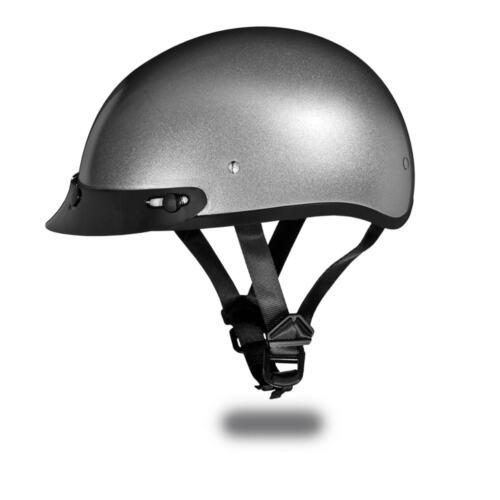New Daytona Helmets Skull Cap SILVER METALLIC DOT Motorcycle Helmet