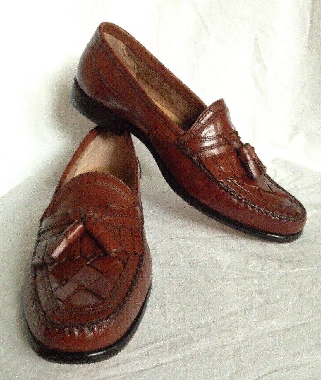 New GIORGIO BRUTINI LeGlove LeGlove LeGlove Handcraft Tan Kiltie Tassel Woven Loafer 9.5D Brazil da0a90
