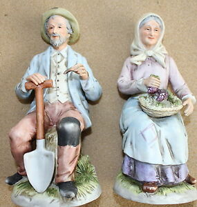 Vintage Nos Porcelain Figurines Old Farmer Man Woman Home Interiors Homco 1433 Ebay