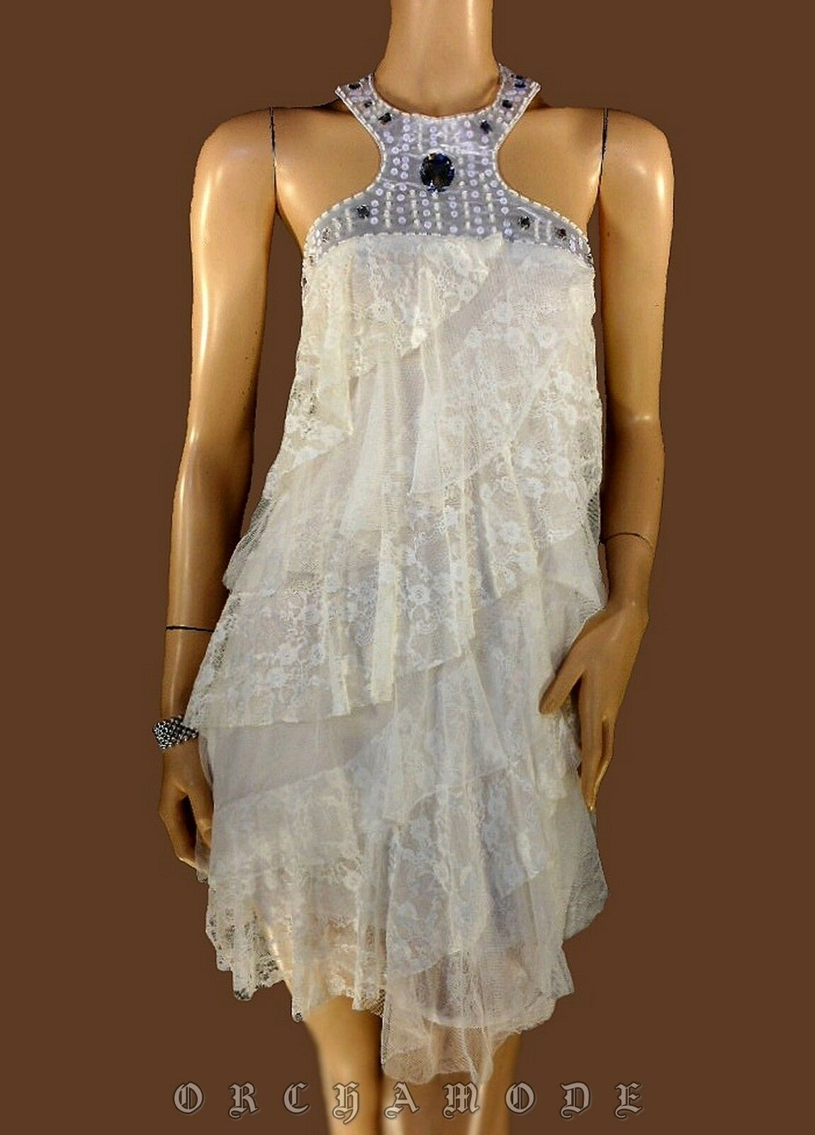 Robe S.C FASHION white Tail 40 L 3 Volant dentelle Soirée NEUF Tunique Dress